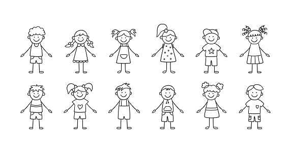 Set of funny children. Happy cute doodle kids. A set of isolated characters. Vector illustration in hand drawn style on white background