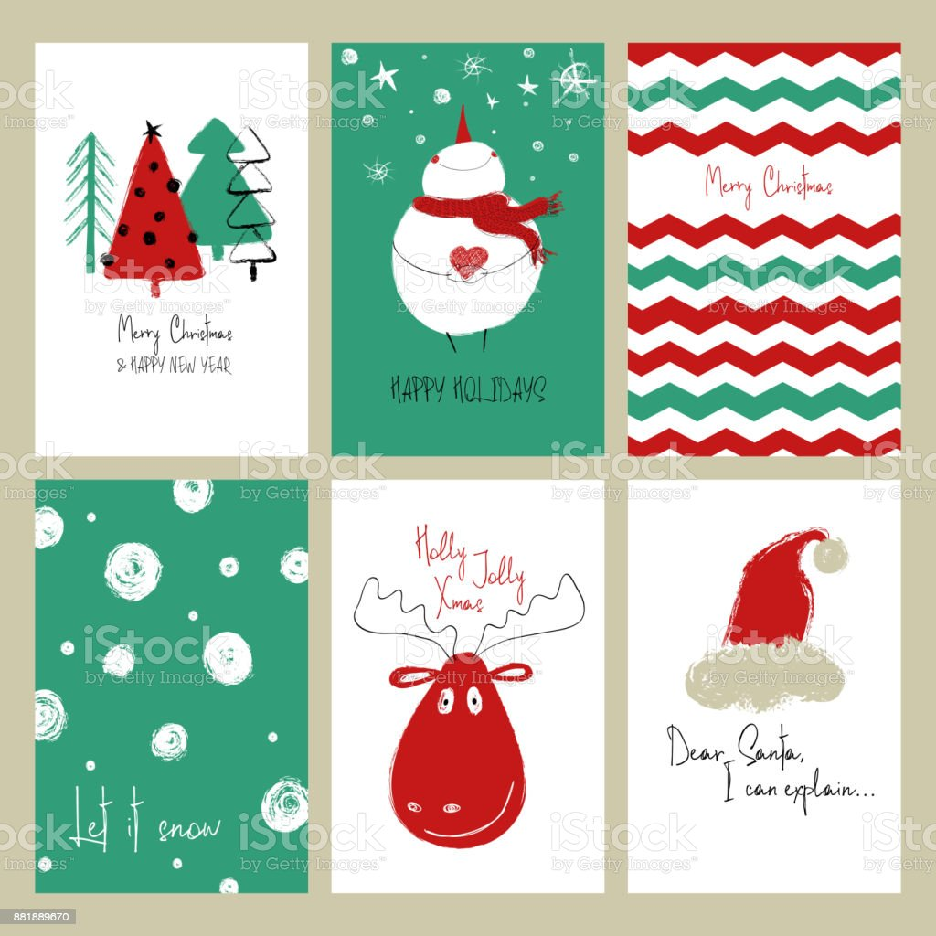 Set Of Funny Christmas Cards Stock Vector Art & More Images of ...