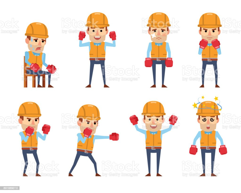 Set of funny construction workers posing with boxing gloves vector art illustration