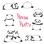 Set of funny cute pandas.