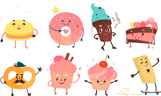 Set of funny dessert characters with human faces