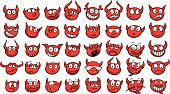 Set of funny devil faces.