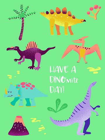 Set of Funny Dinosaurus for Poster Print, Baby Greetings Illustration, Dino Invitation, Children Dinosaur Store Flyer, Brochure, Book Cover in vector