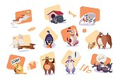 Set of funny dog icons, cute pet cartoon character vector illustration. Domestic animal stickers collection, dog in different poses, situations and emotions. Funny dog playing, eating and sleeping