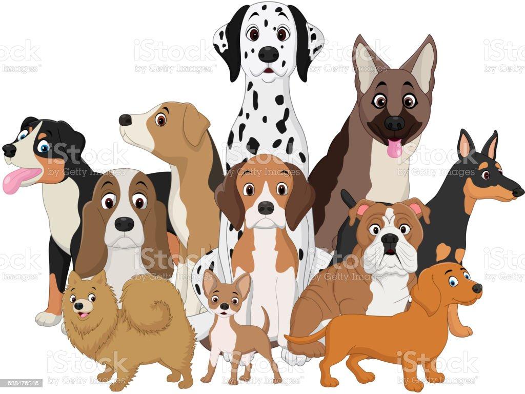 Set of funny dogs cartoon vector art illustration