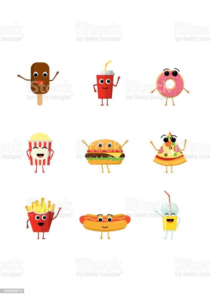 Set of funny fast food characters isolated on white background. Cute cartoon fastfood menu icons in flat style vector illustration vector art illustration