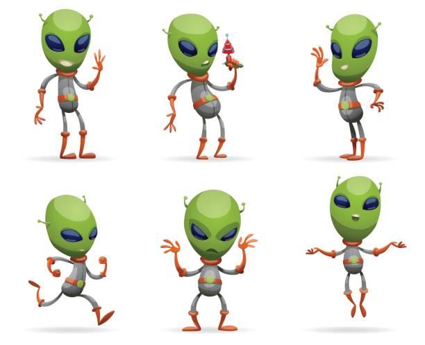Set of funny green aliens vector art illustration
