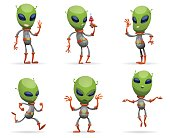 Set of funny green aliens