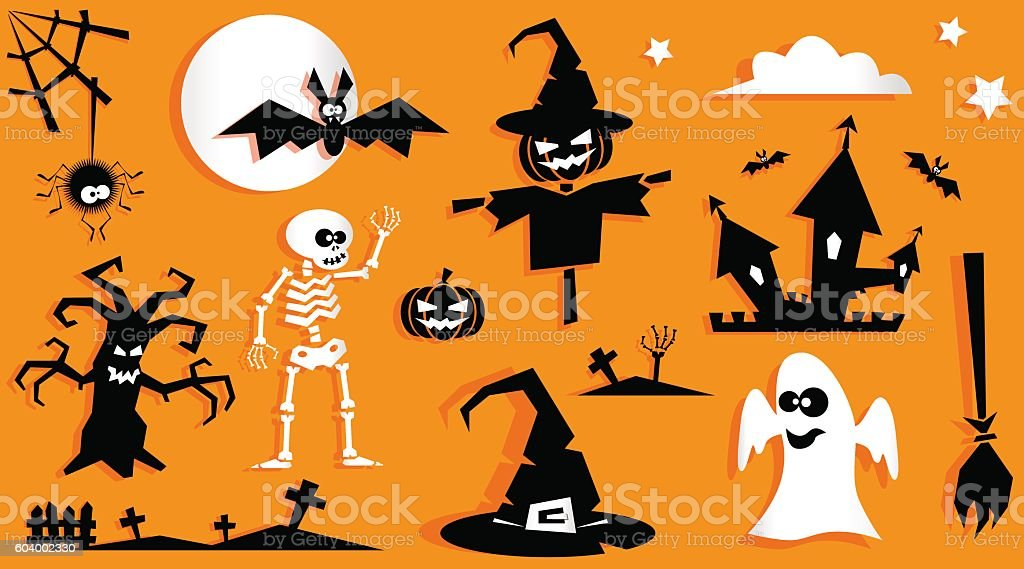 Set Of Funny Halloween Symbol Pumpkin Bat Tree Stock Vector Art