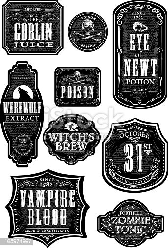 Vector illustration of a set of odd and funny Hallowe'en themed bottle labels. Print and use as wine labels, stickers or package labels or whatever you desire. Labels on white background for easy editing. Includes Illustrator 8 eps and high resolution jpg. Includes png file with transparent background (no white) to easily add over a design with a colored background.