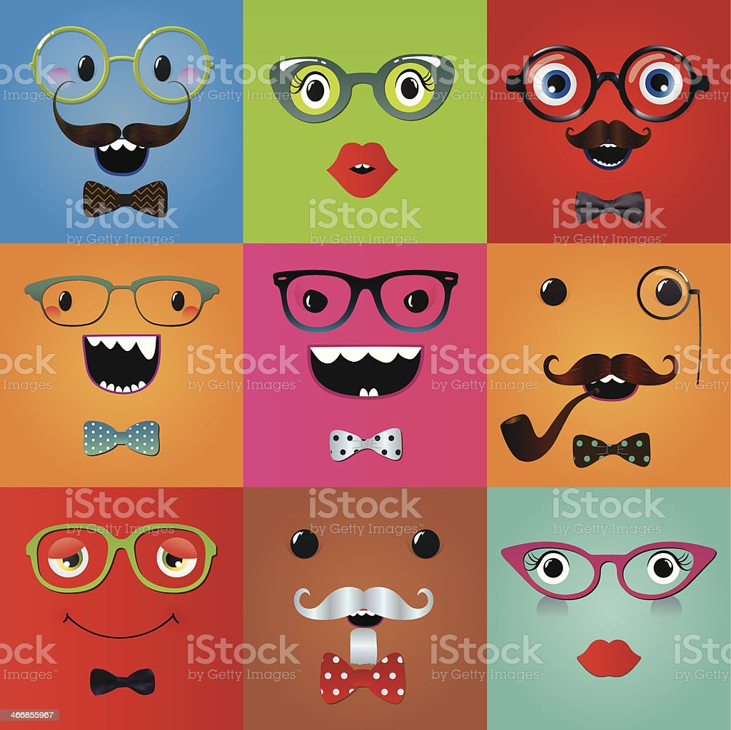 Set of funny hipster monster eyes vector art illustration