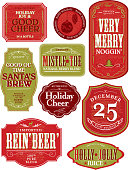 Vector illustration of a set of odd and funny Holiday themed bottle labels. Print and use as wine labels, stickers, package labels or whatever you desire. Labels on white background for easy editing. Includes Illustrator 8 eps and high resolution jpg. Includes png file with transparent background.