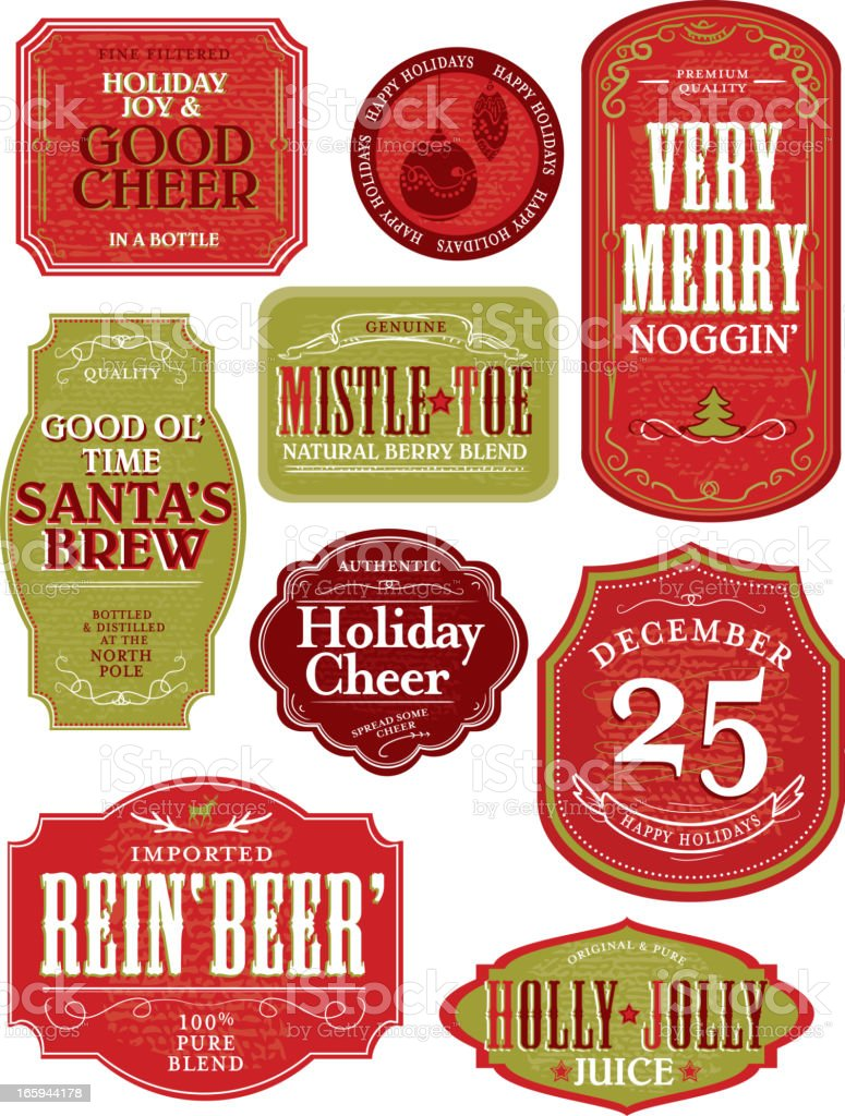 Set of funny Holiday or Christmas themed labels vector art illustration