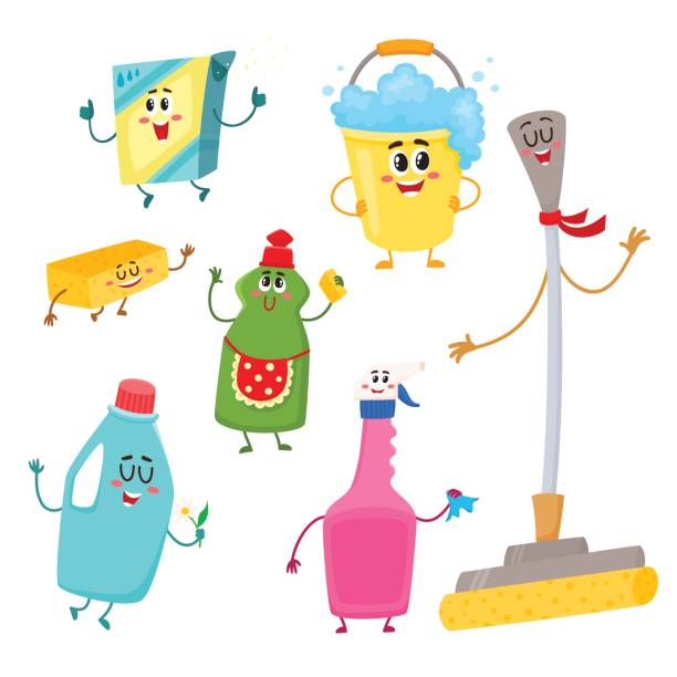 set of funny house cleaning characters, detergents, bucket, mop, sponge - 楽しい 洗濯点のイラスト素材/クリップアート素材/マンガ素材/アイコン素材