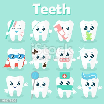 Set Of Funny Icons Of Teeth Vector Illustration On A Blue
