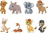 Vector illustration set of funny exotic animals on a white background