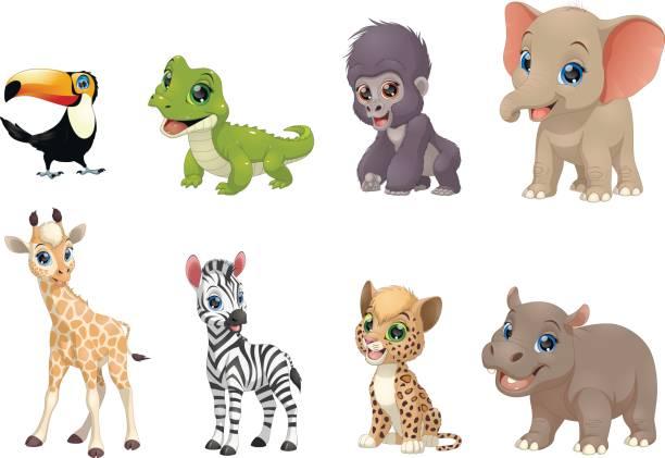 reihe von lustigen kinder tiere - giraffenhumor stock-grafiken, -clipart, -cartoons und -symbole