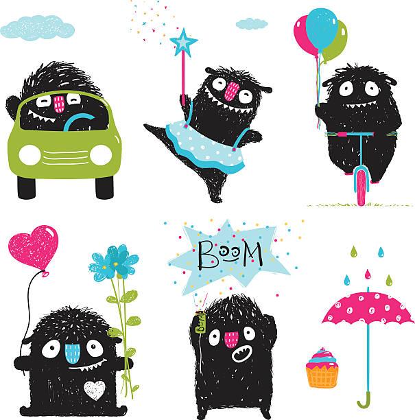 set of funny kids black monsters activities for children graphic - lustige fahrrad stock-grafiken, -clipart, -cartoons und -symbole