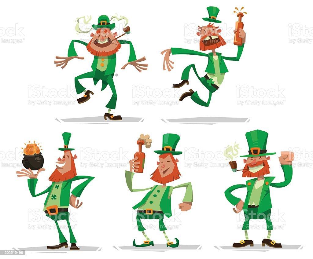 Set of funny leprechauns vector art illustration