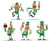 Set of funny leprechauns