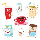 Set of funny milk, coffee, tea cup, glass, mug characters, cartoon style vector illustration isolated on white background. Cute mugs, glasses, cups with tea, coffee, milk, soda drinks