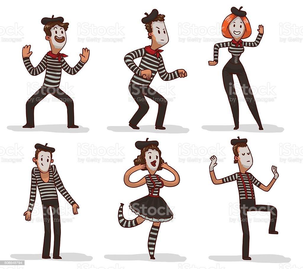 Set of funny mimes vector art illustration