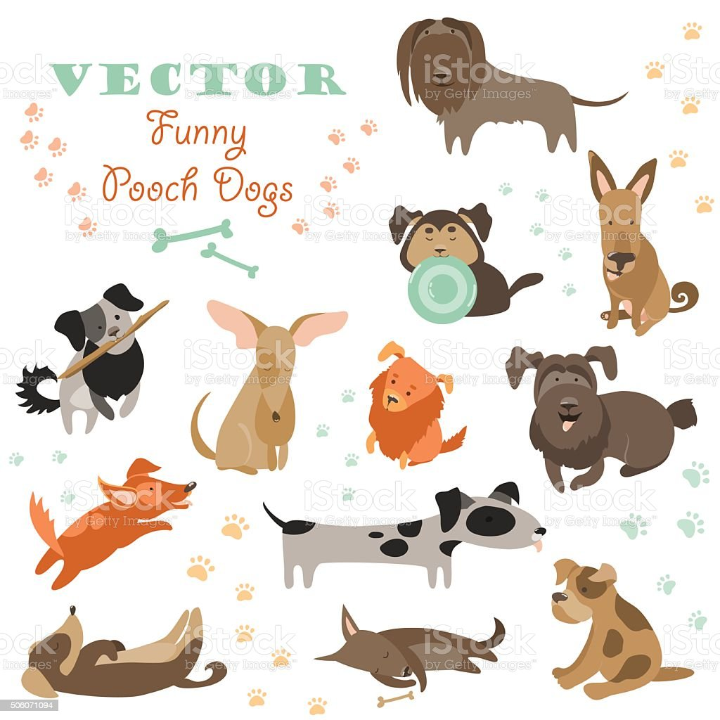 Set of funny Mixed Breed dogs vector art illustration