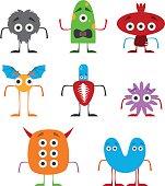 Set of funny monsters vector illustration in white background. I
