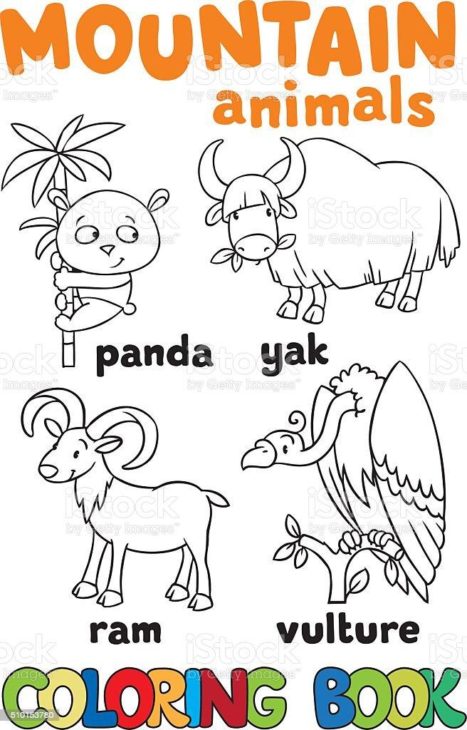 Ilustración de Conjunto De Animales Divertidos A Las Montañas Libro ...
