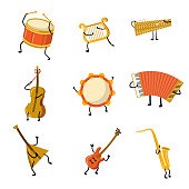Set of funny musical instrument characters with hands and legs