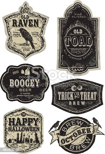 Vector illustration of a set of funny old fashioned Halloween beer labels. Reads starting from top left: Old Raven Pure True Established in 1730, Fine Filtered Old Toad All Purpose Extract, Oogey Boogey Beer It Tastes Spook-tacular, Trick or Treat Brew, Happy Halloween All Hallows Eve, Brew October. Design elements includes ravens and crows, ghosts, eyeballs and gravestone silhouettes. Very textured and worn appearance. Download includes Illustrator 8 eps, high resolution jpg and png file. See my portfolio for other label designs.