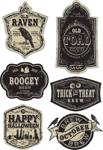 Set of funny old fashioned Halloween beer labels vector art illustration