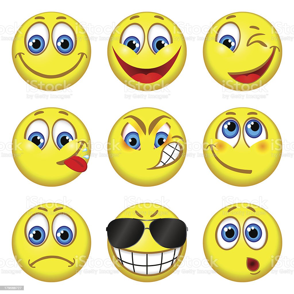 Set of funny people with different expressions royalty-free stock vector art