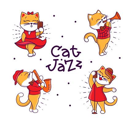 Set of funny Retro Family. Cartoonish cats playing jazz