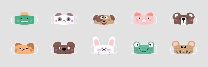 Set of funny reusable masks from the muzzles of different animals isolated on gray background