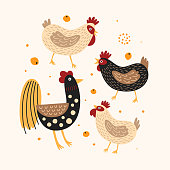 istock Set of funny roosters and hens. 1265179110