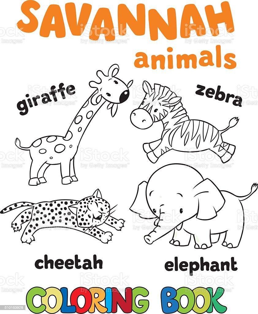 Gruppo Di Savannah Animali Divertente Libro Da Colorare Immagini