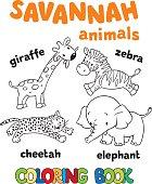 Set of funny savannah animals. Coloring book
