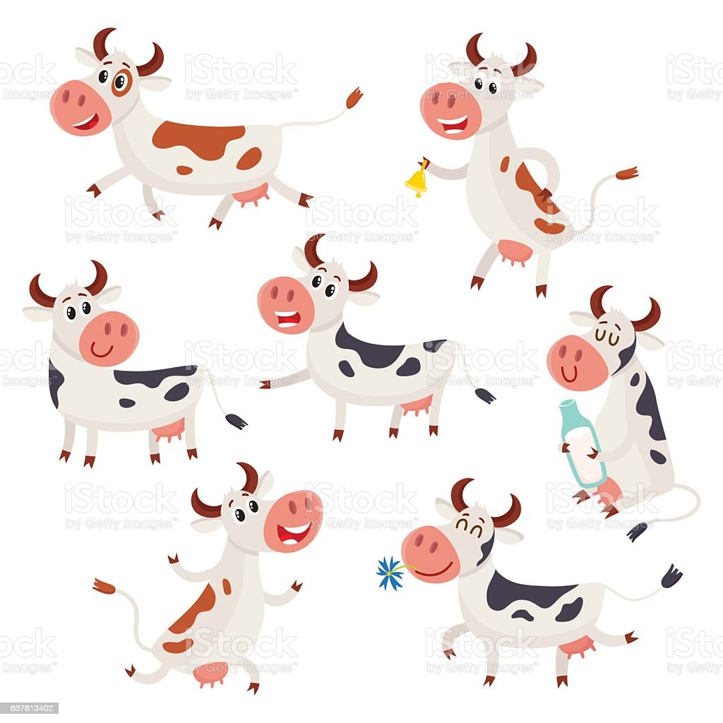 Set of funny spotted cow characters standing, sitting, running vector art illustration