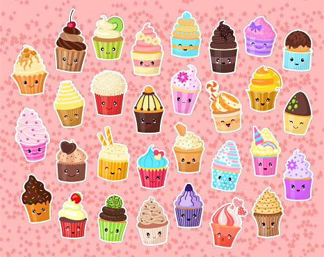 Set of funny stickers for girls. Cute cartoon cupcakes. Collection in the style of kawaii. Positive emotions.