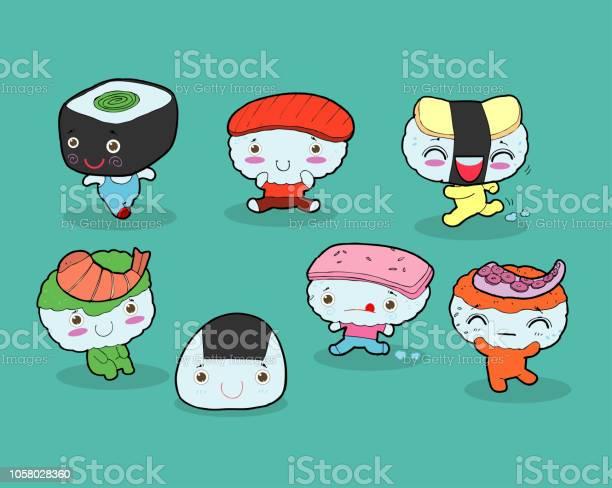 Japanese And Sushi Cute Kawaii Cartoon Download Free