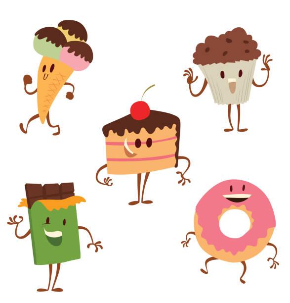 satz von lustige süßigkeiten - tortenriegel stock-grafiken, -clipart, -cartoons und -symbole