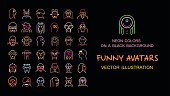 Neon color isolated on a black background set of vector Funny Avatars.