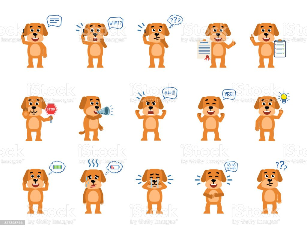 Set of funny yellow dog characters showing different actions vector art illustration