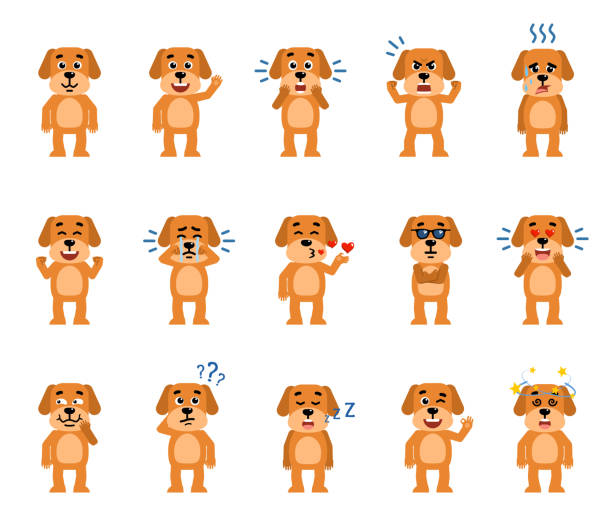set of funny yellow dog characters showing different emotions. - kiss stock illustrations