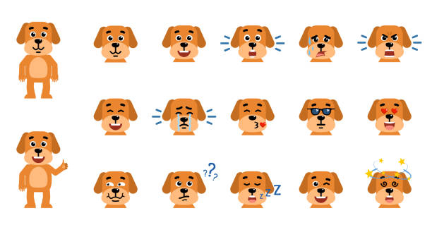 set of funny yellow dog emoticons showing different emotions. - kiss stock illustrations