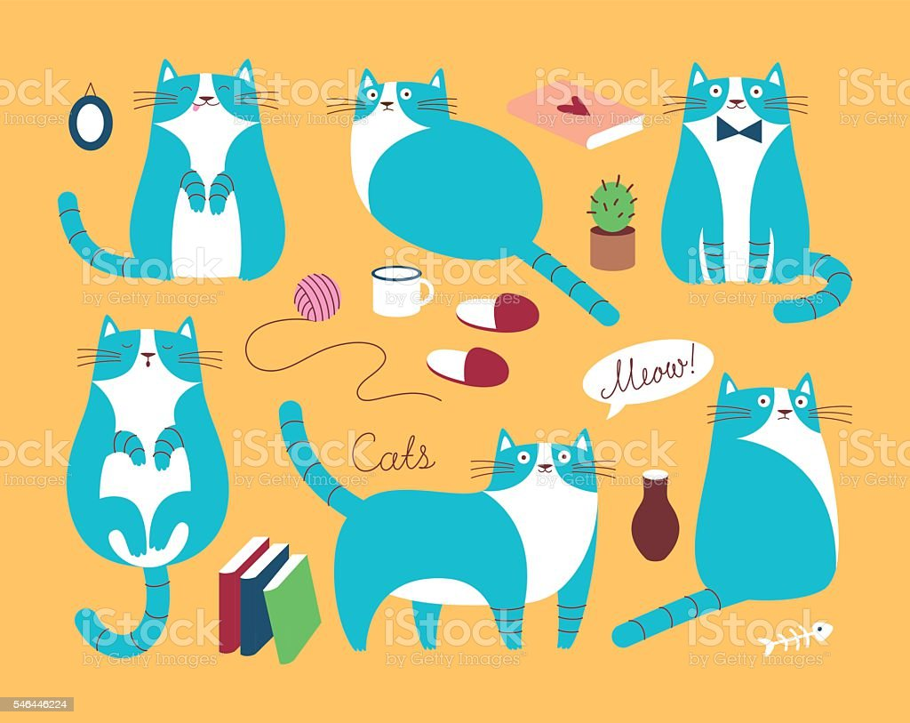 Set of funy blue cats vector art illustration