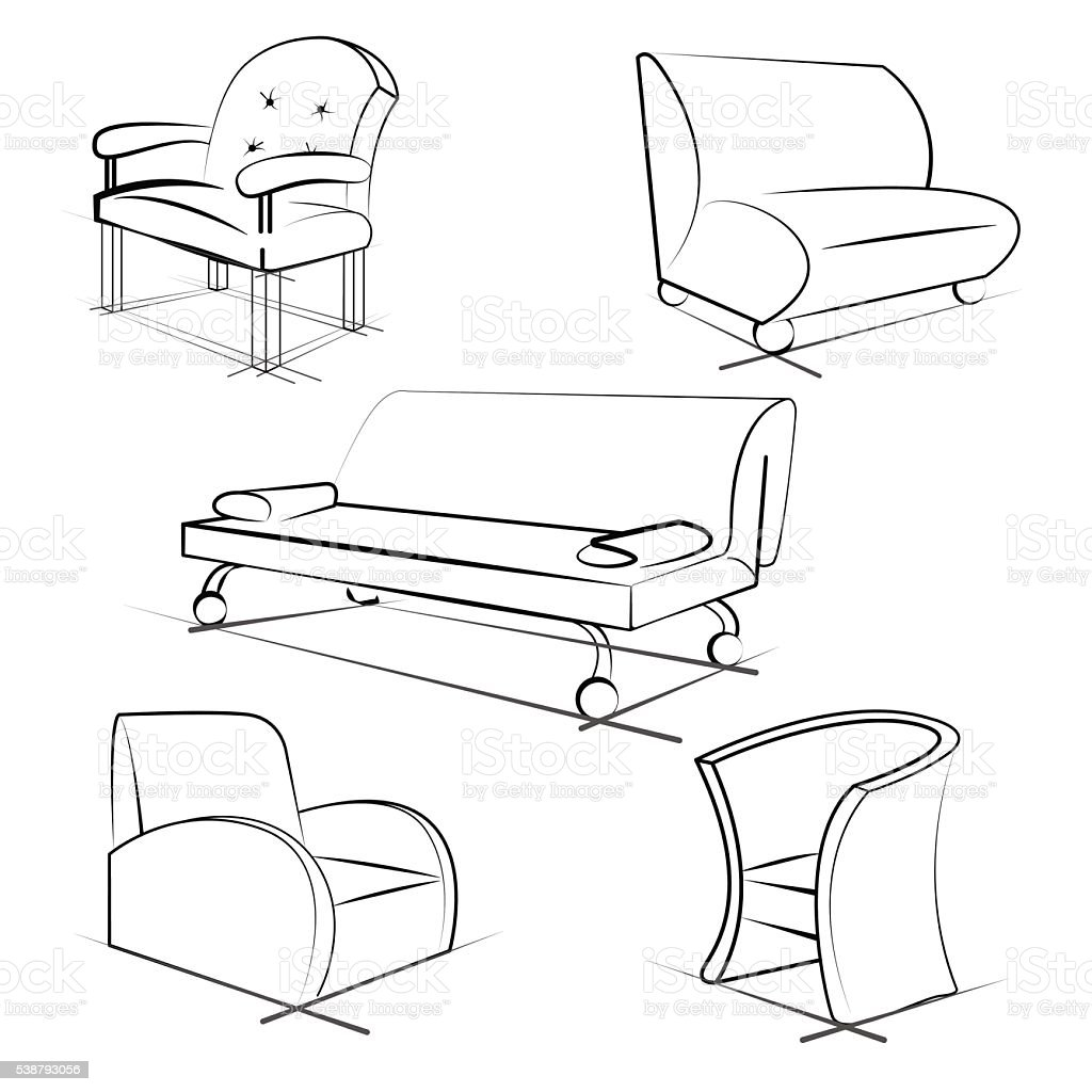 Set Of Furniture 3d Sketch Vector Illustration Stock