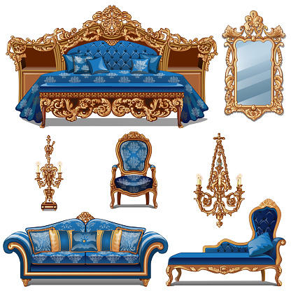 A set of furniture blue color for vintage interior isolated on white background. Vector cartoon close-up illustration