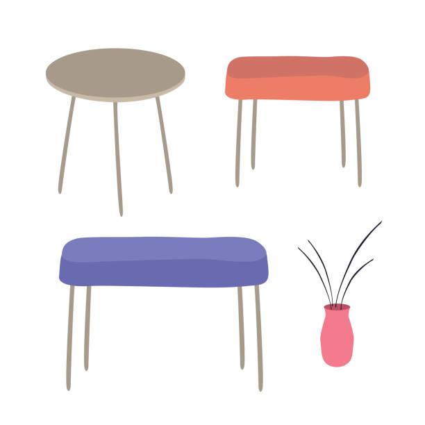 ilustrações de stock, clip art, desenhos animados e ícones de set of furniture elements table, bench, chair, vase. flat design elements banners icons - coffee table
